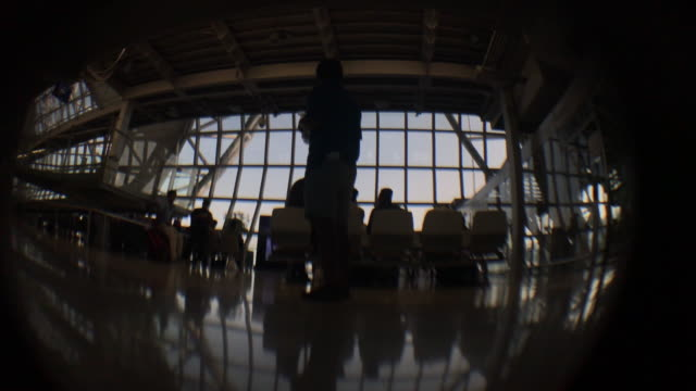 Airport with passenger silhouettes