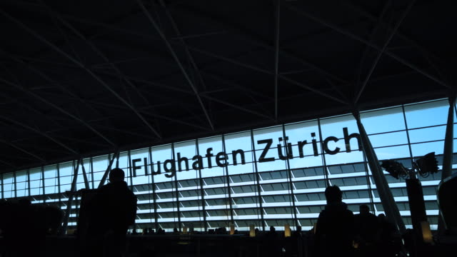 "airport zurich interior with signage ""flughafen zürich"" (airport zurich) - high contrast stock videos & royalty-free footage"