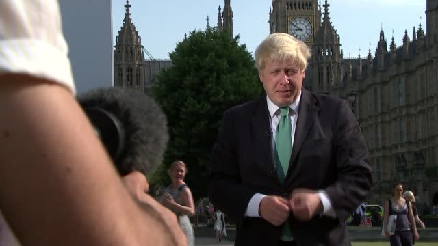 Airports Commission back third runway for Heathrow Boris Johnson and Zac Goldsmith interviews Boris Johnson MP along with bike / Boris standing for...