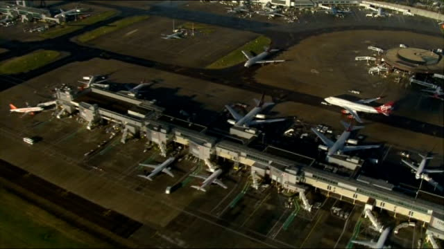 airports commission suggests heathrow or gatwick for a new runway; file / dates unknown sussex: air view - aerial of gatwick airport thames estuary:... - estuary stock videos & royalty-free footage