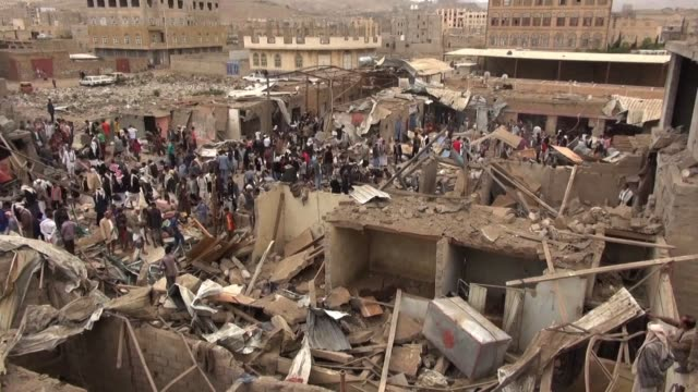 airstrikes launched early on monday by the saudi led coalition in yemen targeted a market in sanaas hiziaz area killing two people and injuring... - air raid stock videos & royalty-free footage
