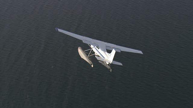 Air-to-air of a sea plane landing 2.