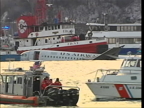 """airways flight 1549 landed on the hudson river, and was piloted by chesley sullenberger. there is a right pan of the """"miracle on the hudson plane""""... - river hudson stock videos & royalty-free footage"""