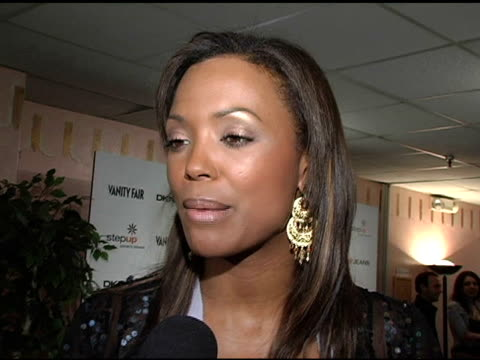 aisha tyler on the step up women's network and the vanity fair concert at the vanity fair in concert to benefit step up women's network presented by... - wiltern theater stock videos and b-roll footage