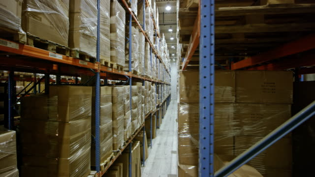 ds aisle in a full warehouse - deposito video stock e b–roll