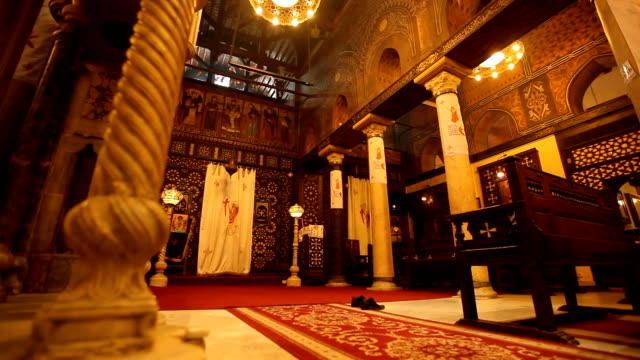 track across aisle of  ornate church/ cairo/ egypt - christianity stock videos & royalty-free footage