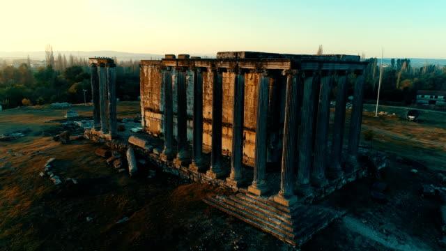 aizanoi - zeus temple - sunrise / aerial - zeus stock videos and b-roll footage