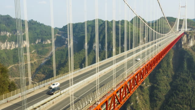 aizhai bridge time-lapse,china - suspension bridge stock videos & royalty-free footage