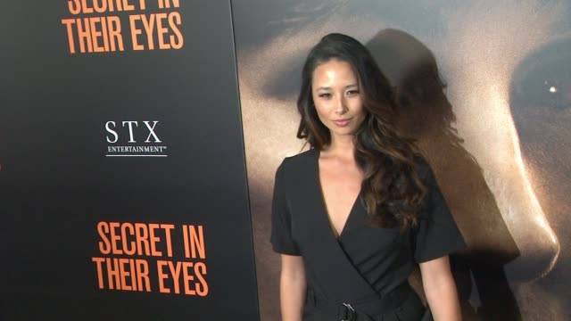 """aja dang at """"secret in their eyes"""" los angeles premiere at hammer museum on november 11, 2015 in westwood, california. - westwood video stock e b–roll"""