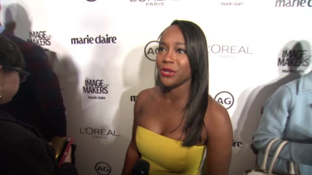 interview aja naomi king on being here and her relationship with her stylists at marie claire hosts inaugural image maker awards at chateau marmont... - image stock videos & royalty-free footage
