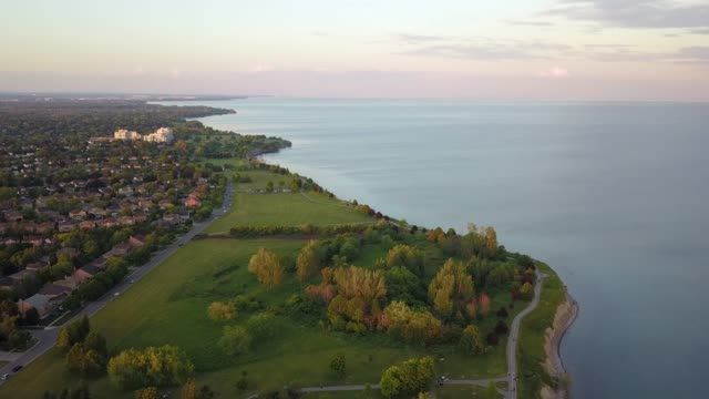 ajax by drone beside lake ontario - natural parkland stock videos & royalty-free footage