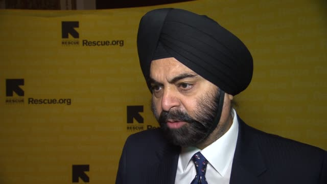 interview ajay banga discusses how he first heard of irc how mastercard is helping irc win the refugee crisis how anyone can get involved with irc's... - waldorf astoria new york stock videos & royalty-free footage