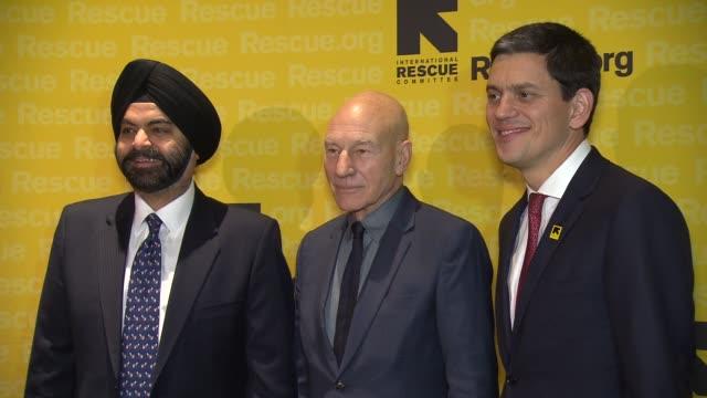 Ajay Banga Patrick Stewart and David Miliband at 2015 International Rescue Committee Freedom Award Benefit at Waldorf Astoria Hotel on November 04...
