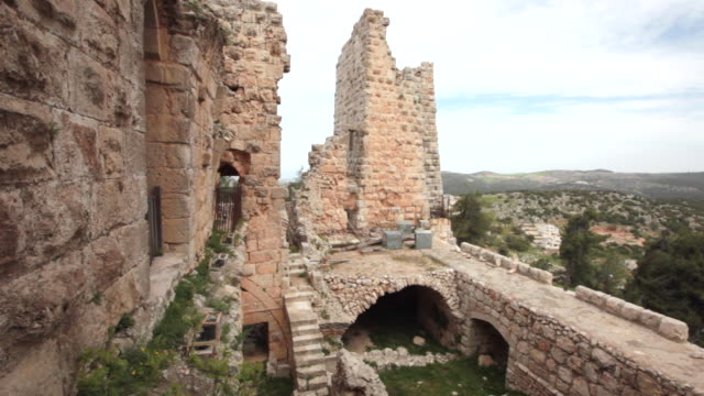 ajloun castle in jordan from outside - circa 12th century stock videos & royalty-free footage