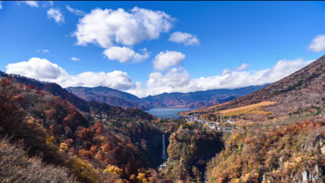akechidaira plateau observation area lake chuzenji nikko,japan - acqua fluente video stock e b–roll