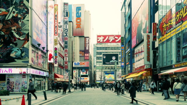 akihabara electronics hub at day, time lapse 4k - akihabara stock videos and b-roll footage