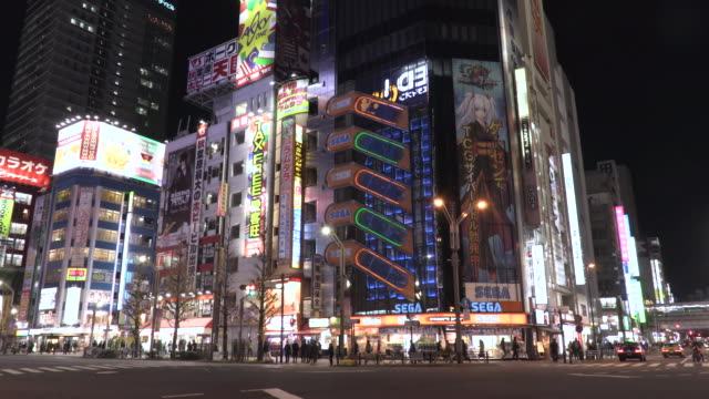 akihabara night view - akihabara station stock videos and b-roll footage