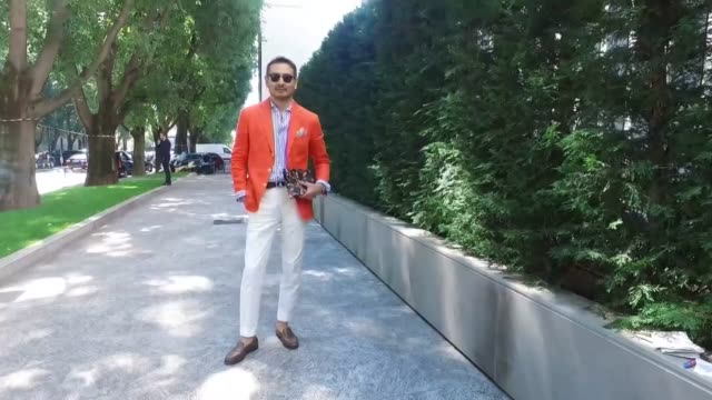 Akira Ono wearing a jacket from Caruso shoes Errico Formicola pants The Gigi shoes JM Weston bag Pelle Mortida during Milan Men's Fashion Week SS17...