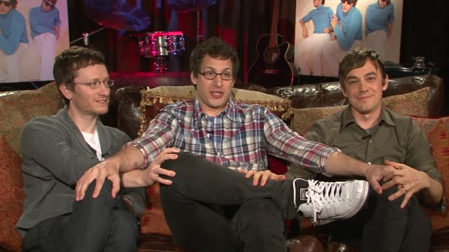 akiva schaffer andy samberg and jorma taccone of the lonely island talk about their new album 'turtleneck and chain' who comes up with the song ideas... - akiva schaffer stock videos and b-roll footage