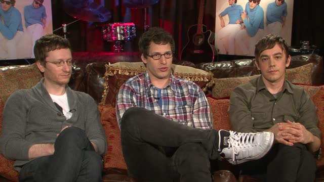 akiva schaffer andy samberg and jorma taccone of the lonely island talk about teaming up once again with justin timberlake on their single... - akiva schaffer stock videos and b-roll footage