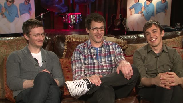 akiva schaffer andy samberg and jorma taccone of the lonely island talk about the instruments blood sweat and tears involved in making their new... - akiva schaffer stock videos and b-roll footage