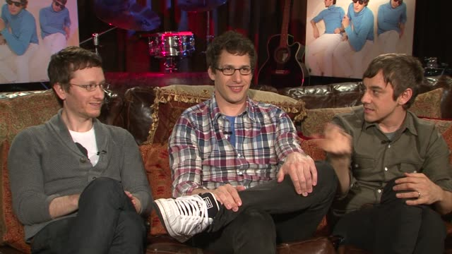 akiva schaffer andy samberg and jorma taccone of the lonely island talk about how they chose who to collaborate with on their album working with... - akiva schaffer stock videos and b-roll footage