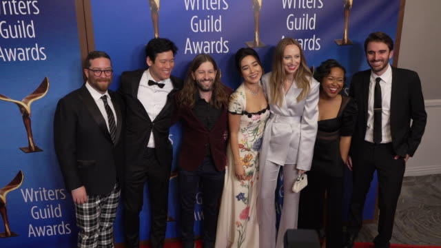 akiva schaffer, jeff chan, sam zvibleman, maya erskine, anna konkle, jessica watson and andrew rhymer at the 2020 writers guild awards at the beverly... - the beverly hilton hotel stock videos & royalty-free footage