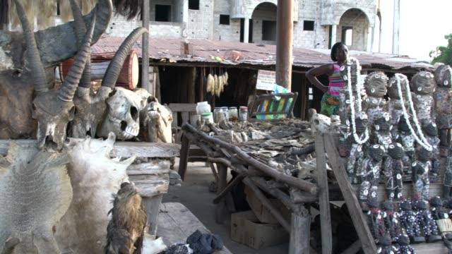 akodessawa fetish market or marche des feticheurs, lome, togo; november 7, 2019; the market features monkey heads, skulls, dead birds, crocodiles,... - fetischismus stock-videos und b-roll-filmmaterial