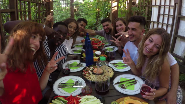Al Fresco Outdoor Meal Summer Young Adults Multi Ethnic Group