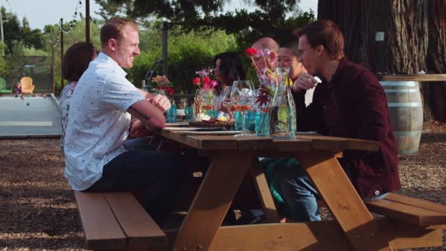 vidéos et rushes de al fresco dégustation au vignoble de californie - slow motion - bouteille de vin
