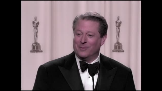 al gore an inconvenient truth academy award global warming discussion in academy award press room regarding climate change the 79th academy awards... - gore stock videos and b-roll footage