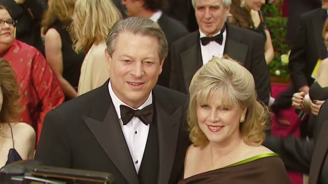 al gore and tipper gore at the 2007 academy awards arrivals at the kodak theatre in hollywood california on february 25 2007 - gore stock videos and b-roll footage