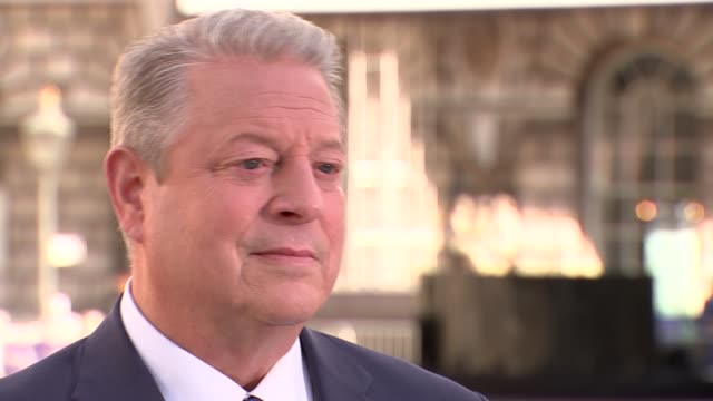 Al Gore interview Al Gore Environmentalist Former US Vice President interview SOT re new film 'An Inconvenient Sequel' Low angle view of Al Gore /...