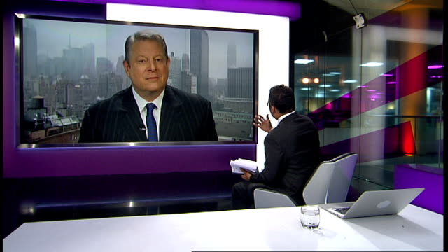 al gore interview on his new book 'the future' england london gir int al gore 2 way interview from new york sot discusses his new book 'the future' - al gore stock videos and b-roll footage
