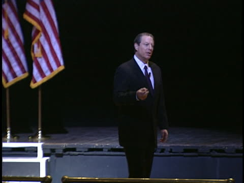al gore, speaking to an audience about global warming, criticizes the bush administration on environmental policies. - environment or natural disaster or climate change or earthquake or hurricane or extreme weather or oil spill or volcano or tornado or flooding stock videos & royalty-free footage