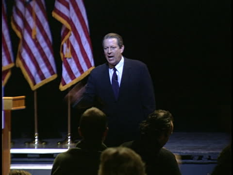 al gore, speaking to an audience about global warming, severely criticizes president george w. bush. - environment or natural disaster or climate change or earthquake or hurricane or extreme weather or oil spill or volcano or tornado or flooding stock videos & royalty-free footage