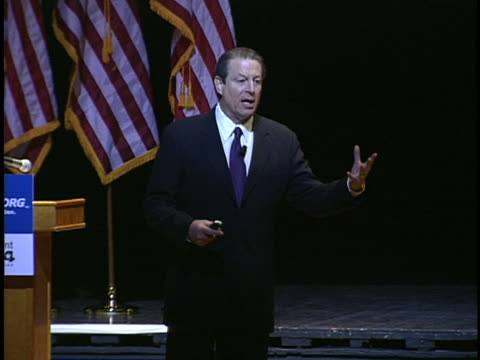 al gore speaks to an audience about global warming and new technologies. - environment or natural disaster or climate change or earthquake or hurricane or extreme weather or oil spill or volcano or tornado or flooding stock videos & royalty-free footage