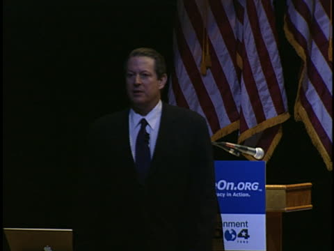 al gore speaks to an audience about global warming and the effects of burning energy. - environment or natural disaster or climate change or earthquake or hurricane or extreme weather or oil spill or volcano or tornado or flooding stock videos & royalty-free footage