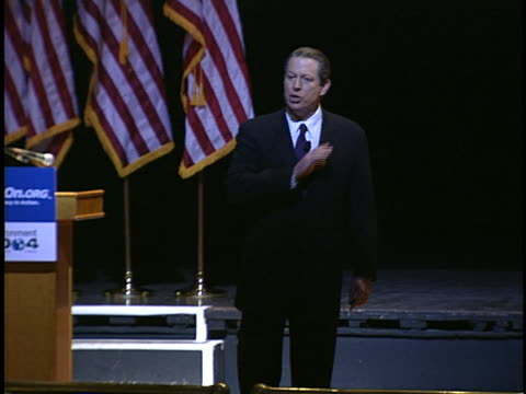 al gore speaks to an audience about global warming and the need for bold leadership to solve it. - environment or natural disaster or climate change or earthquake or hurricane or extreme weather or oil spill or volcano or tornado or flooding stock videos & royalty-free footage