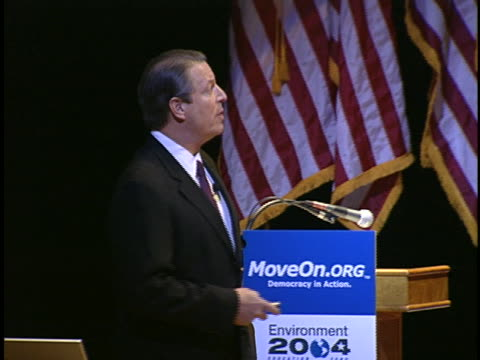 al gore speaks to an audience about global warming and the rapidly melting arctic ice pack. - environment or natural disaster or climate change or earthquake or hurricane or extreme weather or oil spill or volcano or tornado or flooding stock videos & royalty-free footage
