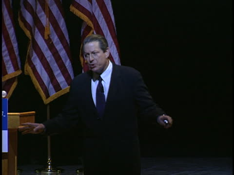 al gore speaks to an audience about global warming, blaming the bush administration for environmental concerns. - environment or natural disaster or climate change or earthquake or hurricane or extreme weather or oil spill or volcano or tornado or flooding stock videos & royalty-free footage