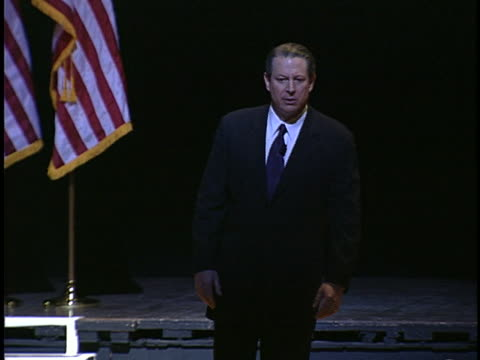 al gore speaks to an audience about global warming, criticizing the bush administration. - environment or natural disaster or climate change or earthquake or hurricane or extreme weather or oil spill or volcano or tornado or flooding stock videos & royalty-free footage