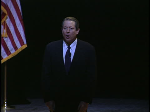 al gore speaks to an audience about global warming in 2004. - environment or natural disaster or climate change or earthquake or hurricane or extreme weather or oil spill or volcano or tornado or flooding stock videos & royalty-free footage