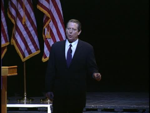 al gore speaks to an audience about global warming, stating that polluters spread a campaign of disinformation. - environment or natural disaster or climate change or earthquake or hurricane or extreme weather or oil spill or volcano or tornado or flooding stock videos & royalty-free footage
