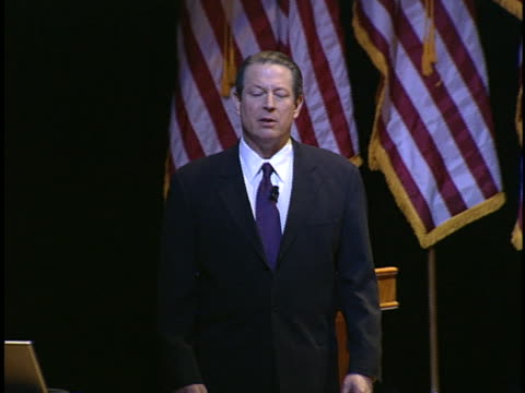 al gore speaks to an audience about global warming. - environment or natural disaster or climate change or earthquake or hurricane or extreme weather or oil spill or volcano or tornado or flooding stock videos & royalty-free footage
