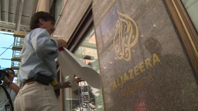 vídeos y material grabado en eventos de stock de al jazeera demanda a att por no transmitir su cadena en eeuu voiced al jazeera exige espacio on august 21 2013 in new york new york - ee.uu