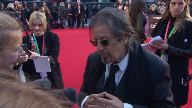 interview al pacino actor on the initial script reading of 'the irishman' at 'the irishman' international premiere 63rd bfi london film festival... - capital letter stock videos & royalty-free footage