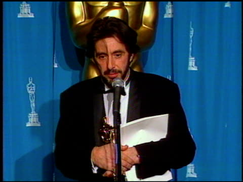 al pacino at the 1993 academy awards at dorothy chandler pavilion in los angeles california on march 29 1993 - al pacino stock videos & royalty-free footage