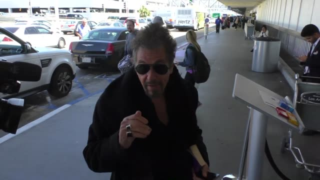 al pacino departing at lax airport in los angeles in celebrity sightings in los angeles - al pacino stock videos & royalty-free footage