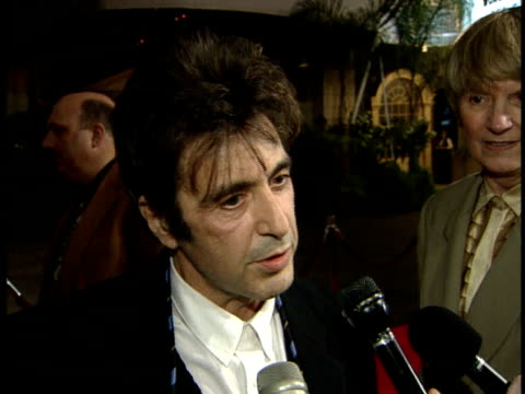 al pacino gives an interview on the red carpet at the movie premiere for heat - al pacino stock videos & royalty-free footage